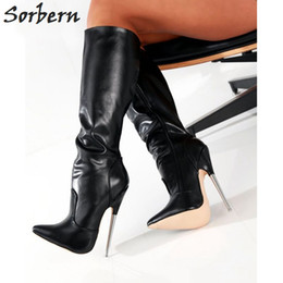 Wholesale White Long Boots Women - Sorbern Wild Style Knee-High Soft PU Patent Leather Extreme Thick High Heel Boot Long Women Knee High Zip Sexy Fetish Shoes