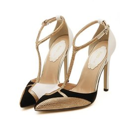 Wholesale Diamond Wedding Heels - 2017 New Diamond Spell Color High Heels Gold Dress Shoes Woman Style Women Pumps Sexy Hollow Pointed Stiletto Heels