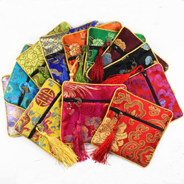 Wholesale Jewellery Silk Pouches - jewellery pouch real silk Silks and satins small packing bag Buddha beads bag Tassel brocade bag 100pcs lot by dhl free