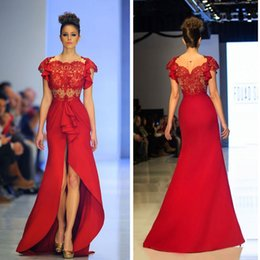 Wholesale Black Par - 2016 Elegant Red Evening Dresses With Sleeves Front High Slit Lace Scoop Sweep Train Abiye Uzun Elbise Prom Gowns Pageant Dress For Par