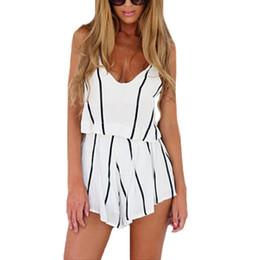 Wholesale Designer Jumpsuit - New New Fashion Women Striped Chiffon Jumpsuit Scoop Neck Spaghetti Strap Boho Beach Novelty Designer Sexy Short Jumpsuit White