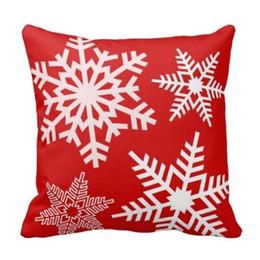 Wholesale Housse de coussin de Noël blanc flocon de neige rouge décorative Noël taie d oreiller de Noël décoration Quot Coton deux côtés