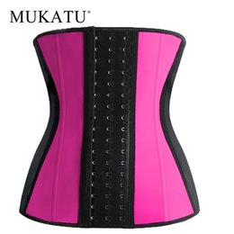 Wholesale Steel Boned Xl Corset - Wholesale- Latex Waist Cincher Hot Shaper 9 Steel Bone Waist Trainer Corset Body Shaper Latex Waist Trimmer Belt Underbust Shapewear Corset