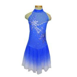 Wholesale blue ice skating dresses - Newest Design Flower Pattern High Neck Sleeveless Girls' Skating Dresses Custom Made Beaded Ice Skating Spandex Dress Hot Selling