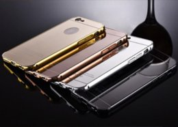 Wholesale Iphone Aluminium Metal Bumper - 2016 Acrylic Mirror Aluminium metal Bumper Case For iPhone 5 5S 6 Plus 6S galaxy S3 4 5 Grand Prime G530 S6 S7 edge A5 A3 A8 note 3 4 5