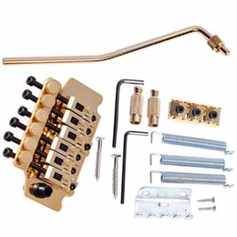 Wholesale Gold Tremolo Bridge - Wholesale- 1Set New Gold Tremolo System Double Locking Floyd Rose Guitar Tremolo Bridges