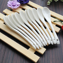 Wholesale Coffee Spoons Porcelain - Porcelain coffee spoons pure white bone china coffee spoon small luxury spoon 10 pieces as a unit + free send 2 pieces free shipping