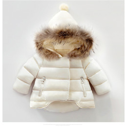 Wholesale Baby Boy Down Snowsuit - Kids Snowsuit 2017 Winter Baby Girls Coat Infant Children Clothing Fur Collar Hooded Thick Jacket Baby Girl Boy Clothes Outerwear Down Coat