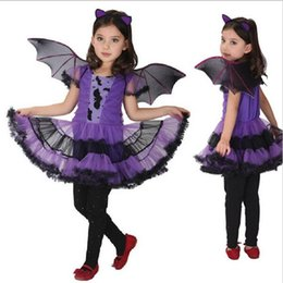 Wholesale Dance Performance Clothes Kids - Fancy Masquerade Party Bat Girl Costume Children Cosplay Dance Dress Costumes for Kids Purple Halloween Clothing Lovely Dresses