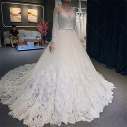 Wholesale Elegant Wedding Dress Train Cathedral - Spring New Fashion Elegant Lace Wedding Dress Full Sleeve Top Sheer Bridal Gowns Cathedral Robe De Mariage Custom Made Size