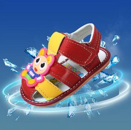 Wholesale Baby Monkey Shoes - Moccasins Walker Baby Shoes Girls Boys Sandals Kids Cartoon Toddler Shoes Infant Baby First Leather Moccs Summer Loafer Monkey Bee Cow