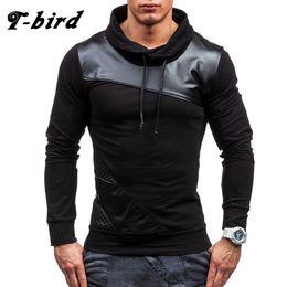 Wholesale Birds Skin - Wholesale- T-bird 2017 Fashion Mens Hoodies Skin Patchwork Causal Men Clothing Sportswear Pullover Sweatshirt Men O-neck Slim Sweatshirts