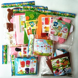 Wholesale Felt Craft Kits - Happyxuan 9 Designs lot Kids DIY Craft Kits Felt Fabric Handicraft Preschool Kindergarten Children Creative Educational Toy Set