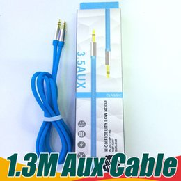 Wholesale Wholesale Home Audio - Aux Cable 1.3M 3.5mm Auxiliary Car Audio Cable Jack Male TO Male Stereo Car Cord For iPhone Samsung Headphone MP3 MP4 Speaker Home Tablet PC