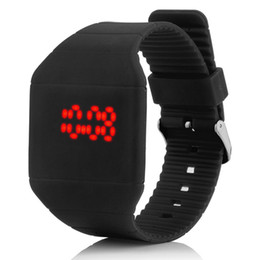 Wholesale Led Touch Light Watches - LED Colorful Digital Touch Screen Date Time Silicone Sport Wrist Watch Unisex Silicone Band Watch One-touch Display Red Light Watches 100PCS