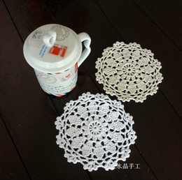 Wholesale Crochet Flower Decoration - Wholesale- Free shipping fashion 30pic l cotton crochet lace coaster with flower for wedding decoration button coaster kietchen accessories