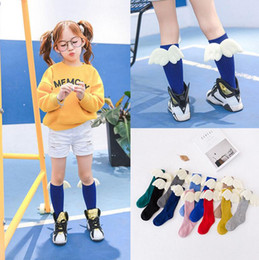 Wholesale Kid Girl Tube - Kids Socks Angel Wing Child Long Knee Sock Kids Wings Socks Baby Leg Warmers Kids Tube Socks KKA2408