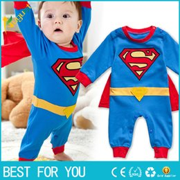 Wholesale Super Man Costumes For Girls - New hot 2017 cartoon spider-man cosplay cotton jumpsuit full sleeve hoodies romper for baby boys and girls