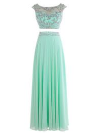 Wholesale Club Lights For Sale - Dresses for Party 2016 Hot Sale Sexy Two Pieces Mint Green Evening Dress Scoop Vestidos Largos De