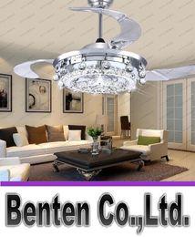 Wholesale Fan Control Light Switch - LED Fan Crystal Chandelier Dining Room Living Room Fan Droplights Modern Wall Remote Control Crystal Chandelier Lights LLFA