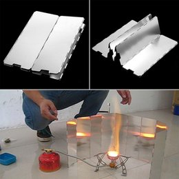Wholesale Camping Stove Wind - 82X24CM Foldable Aluminum 10 Plates Cooker BBQ Gas Stove Wind Shield Screen Picnic Outdoor Folding Camping Picnic Cooker Stove with Bag