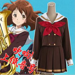Wholesale Girls Sailor Style Dress - Wholesale-Hibike! Euphonium Oumae Kumiko Girls School Uniform Cosplay Costume Summer Style Casual Sailor Suit(Dress+Red Green Bow Tie)