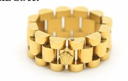 Wholesale Quality Rings - AAAAA quality Mens 10mm Luxury Link Band Ring Stainless Steel Gold Tone Hiphop Watchband Style President Crown Ring DJ luxury logo watch