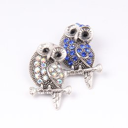 Wholesale Owl Diy - New Big Size Animal Owl Snap Buttons 18mm Interchangeable Noosa Flower Ginger Snap Jewelry DIY Necklace Bracelet Accessory