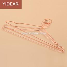 Wholesale Hanger Pants - Yidear elegant rosy gold steel clothes hanger metal wire copper coat hangers, t shirt hanger,dress hanger