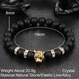 Wholesale Diamond Natural Bracelet - 8mm Natural Lava Rock Stone Bracelets Elastic Handmade Silver Gold Leopard Head Diamond Prayer Beads Bracelet Jewelry Gift