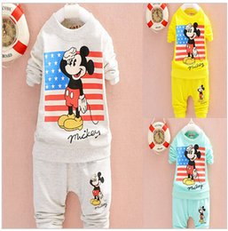 Wholesale Hot Pink Zebra Tutus - 2016 HOT SALE spring autumn baby boy girls print cartoon brand character T-shirt+pants 2 sets kids fashion clothes baby sports suits