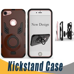 Wholesale Apple Rugged Protection - For iphone 7 Rugged Hybrid Dual Layer Protection Defender Case Ring Kickstand Cases Cover For iPhone 6 6S 7 Plus Huawei Mate 9 P10 PM