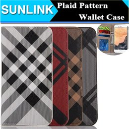 Wholesale Plastic Cases For Business Cards - Check Grid Pattern PU Leather Wallet Case Classic Business Style Stand Flip Folio Cover for iPhone 7 6 6s Plus 5s se Photo Frame Card Holder