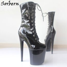 Wholesale Pole Dance Heels - Sorbern New Style Winter Boots Lady Gaga Extreme High Heels Platform Boots Lace Up Pole Dancing Ankle Boots Side Zip Black Plus Size
