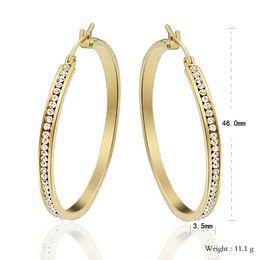 Wholesale Red Jade Earrings Gold - 1Pair Large Big Hoop Earrings For Women 18k Gold Plated Stainless Steel Brincos Europe Punk