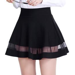 Wholesale High School Girl Mini Skirt - New 2017 School Style Women's Skirt High Waist Summer A-Line Mini Skirt For Girl With Mesh Patchwork Design Jupe
