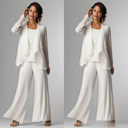 Wholesale Cheap Women White Suits - Elegant White Chiffon Mother Of Bride Pant Suit For Wedding Long Sleeves Plus Size Formal Women Evening Occasion Gown Custom Made Cheap 2016