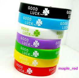 Wholesale Good Luck Bracelets For Women - 100pcs lot mixed Colors Good Luck Clover Silicone Rubber Elastic Bracelet Wrist Band for Women Men Fashion Jewelry Bangle