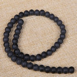 "Wholesale Polished Stone Jewelry - Dull Polish Matte Black Onyx Agates Beads Round Natural Stone Beads 15"" Strand 4 6 8 10 12 14MM For DIY Jewelry Making"