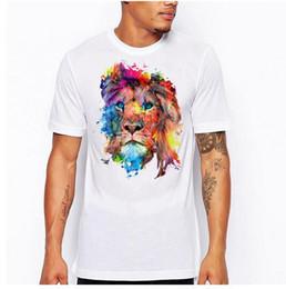 Бесплатная доставка! Новый 2017 высокое качество мужская футболка с коротким рукавом цветные Львы дизайн печатных футболки для мужчин горячий стиль размер s-4xl от Поставщики платья львов