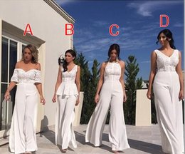 Wholesale Sweetheart Jumpsuits - 2018 New Vintage Style White Lace Jumpsuit Bridesmaid Dresses Sweetheart Neck Formal Dress For Wedding Party Bridesmaids Gowns