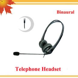 Wholesale Telephone Headset Corded Phones - Binaural telephone headset with RJ09 plug   call center phone headsets call center headset telephone with RJ09 Plug
