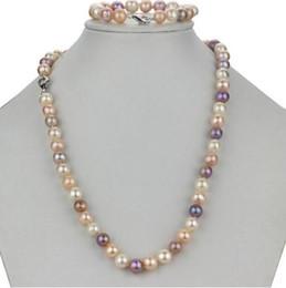Wholesale White Round Freshwater Pearl Bracelet - 9-10mm Round White Pink Purple Mix Colour Naturel Freshwater Pearl Bracelet Necklace 18inch Bracelet 7.5inch Set