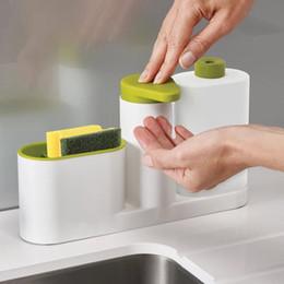 Wholesale Hand Sinks - 1Set Multifunctional Washing Sponge Storage Sink Detergent Soap Dispenser Storage Rack Hand Sanitizer Bottle Kitchen Storage