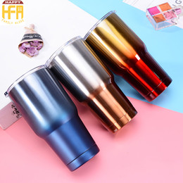 Wholesale Wholesale Metal Mugs - 850Ml Vacuum Stainless Steel Tumbler Water Bottle Thermos Cups Gradient Ramp Color Auto Mug Logo Customized Available