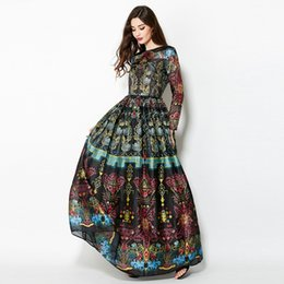 Wholesale Gowns Ancient - Skirt Restoring Ancient Ways Female, 2017 High-end Custom Runway Looks Floral Print Dress Up In An Evening Gown Dress