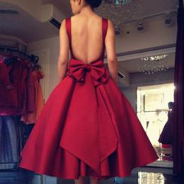 Wholesale Vestidos Homecoming Cortos - 2016 Simple Classy Cocktail Dresses Scoop Backless Burgundy Big Bow Puffy Skirt Short Prom Dresses vestidos de graduacion cortos homecoming