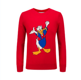 Wholesale Sweaters For Mens - New Autumn Winter mens sweaters Donald Duck fashion designer embroidery sweater men brand Luxury Italy cartoon hoodies for men