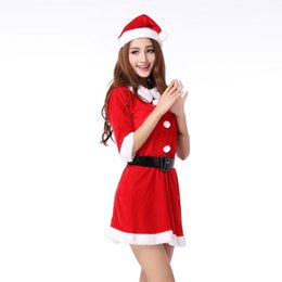 Wholesale Dress For Adult Babies - Women's Santa Baby Costume Quesera Miss Santa Suit Adult Sweetie Christmas Halloween Party Costume Dress Free Size Fit for 150-175CM OTH594