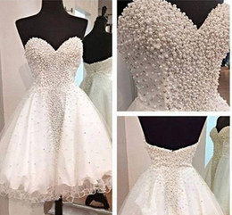 Wholesale Open Back One Shoulder Gown - 2017 New Glamorous Sweetheart Open Back Short Homecoming Dresses Crystals Beaded Pearls Cocktail Party Gowns Mini Sweet 16 Girls Dresses